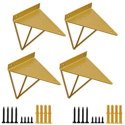 Golden Shelf Brackets 6 x 5 Inch Heavy Duty, Industrial Floating Wall Mounted Decorative Brackets for Shelves, Hidden Triangle Metal Shelving Brackets for DIY Shelving, Set of 4