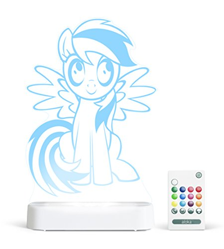 Aloka Rainbow Dash My Little Pony Starlight - Color Change 12 Color Pattern LED Decorative Night Light for Kids with Remote