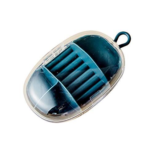 Joyeros de viaje con tapa transparente para guardar joyas, para anillos, pendientes, collares, pulseras, etc. (azul)