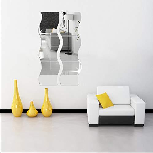6 pegatinas de pared de espejo ondulado, tamaño grande, espejo 3D, acrílico, para decoración del hogar, hogar, salón, dormitorio, sofá, TV, decoración de pared, plástico, plata, L_25x30cm