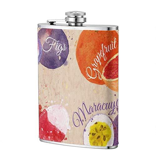 XBYC Trinkflaschen für Alkohol, Obstset gezeichnete Aquarellflecken und Flecken mit einem Spray Feigen, Grapefruit 8 Unzen Edelstahl Flachmann für Alkohol für Männer