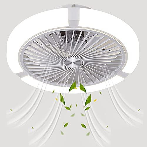 FCWMD Luces de Techo Redondas de 45 cm con Ventilador y Control Remoto Ventilador silencioso e Invisible para Dormitorio con iluminación Lámpara de Ventilador LED de 48 W Regulable Temperatura de