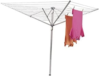 Household Essentials 1710 Height Adjustable Outdoor Umbrella Drying Rack | Aluminum | 12-Lines with 165 ft. Clothesline