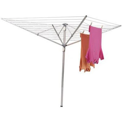 Household Essentials 1710 Height Adjustable Outdoor Umbrella Drying Rack  Aluminum  12-Lines with 165 ft Clothesline