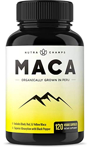 Organic Maca Root Powder Capsules - Energy, Performance & Mood Supplement for Men & Women - Vegan Pills, Peru Grown, Gelatinized + Black Pepper Extract for Superior Results