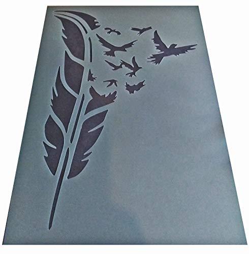 Kunststoff-Schablone, Retro, Shabby Chic, Feder, Vögel, A4, 297 x 210 mm, für Möbel oder Wände