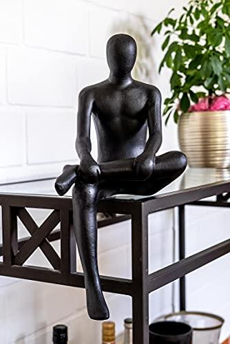 IDYL Escultura moderna de piedra arenisca, resistente a la intemperie, color negro, dimensiones 19 x 23 x 43 cm, figura decorativa para cualquier salón, balcón y jardín