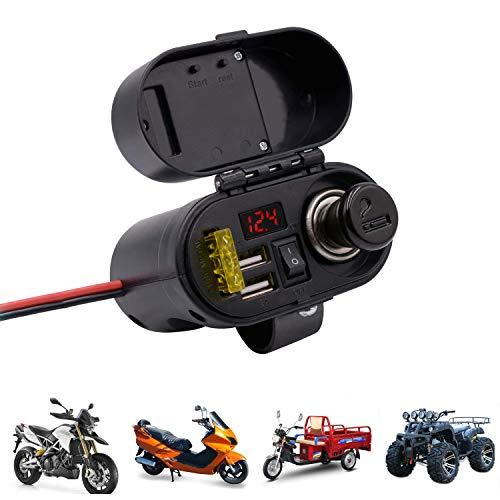 Preisvergleich Produktbild RSGK Motorrad wasserdicht Schalter Zigarettenanzünder,  4-in-1 wasserdichte Ladebuchse 12V / 24V Dual USB Adapter Ladestecker,  mit Uhr