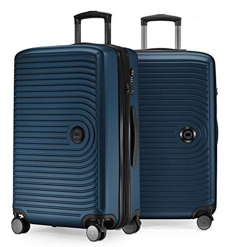 HAUPTSTADTKOFFER HAUPTSTADTKOFFER - Mitte - 2er Kofferset Trolley-Set + Zwei Koffergurte, Rollkoffer mit Dehnfalte 65cm, ABS, TSA, Dunkelblau
