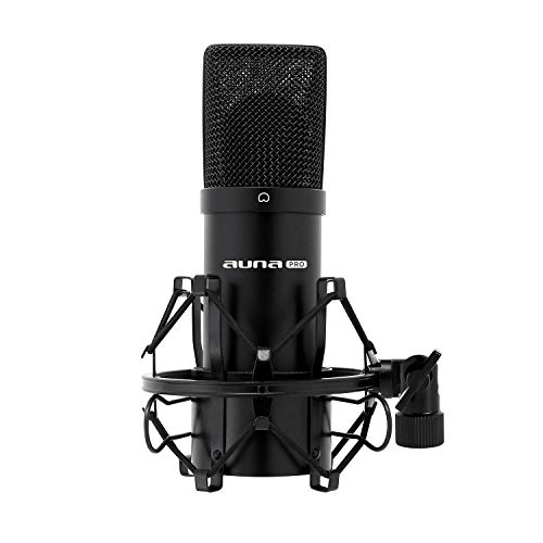 auna MIC-900B, USB Kondensator-Mikrofon, Gaming-Mikrofon, Standmikrofon für Gesangs- und Sprachaufnahmen, PC & Studio, 16 mm Kapsel, 320Hz - 18KHz, schwarz