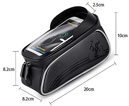 LJWLZFVT Bike Phone Frame Bag Bike Phone Mount Bag Bike Accessories Waterproof Top Tube Bike Phone Case with Sensitive Touch Screen Bicycle Pouch Fits Phones Under 6.5''Bicycle bag-Red 20x8.2x10cm