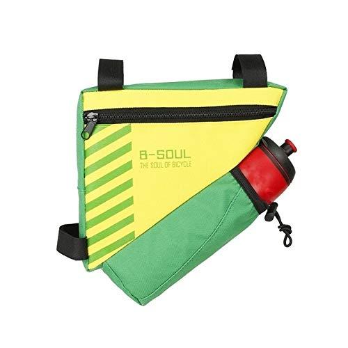 YIXIE Viga de Bicicletas Bolsa con la Botella de Agua Triángulo Bolsa caluroso Ciclismo Figurehead Marco del Tubo Bolsa de Bolsillo del 20,5 * 18 * 5 cm Mi WEEXIZHIGUANGLIYA (Color : Green)