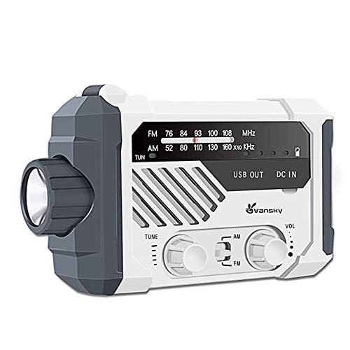 Vansky防災ラジオ、小型ラジオ、ラジオライト、便利グッズ AM/FM携帯ラジオ 懐中電灯、ソーラー 充電 手回し充電 USB充電 太陽光充電 乾電池対応、2000mAh