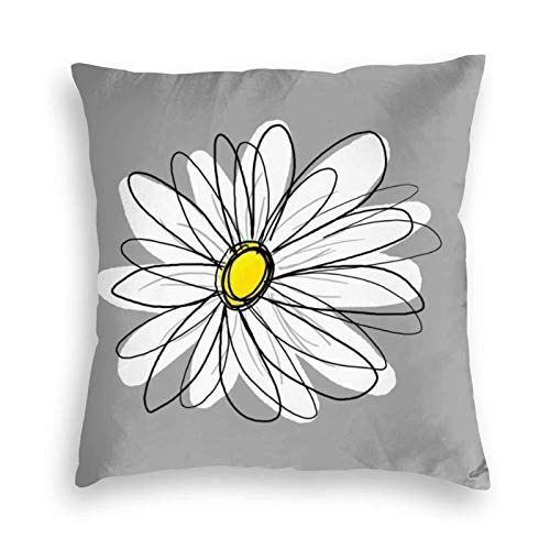 MayBlosom Trendy Daisy with Gray and Yellow Velvet Soft Cushion Covers Square Throw Pillowcases for Sofa Bedroom Car with Invisible Zipper 18x18 Inch