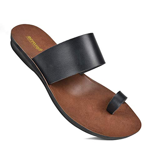 Comfortable Walking Summer Vacation Essentials Flat Sandals for Women (US 09, Veawil Black)
