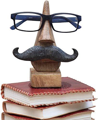Indus Lifespace Artisan of India Klassischer handgeschnitzter nasenförmiger Brillenhalter mit schwarzem Schnurrbart