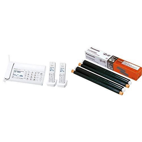 パナソニック おたっくす デジタルコードレスFAX 子機2台付き 1.9GHz DECT準拠方式 ホワイト KX-PD215DW-W &  普通紙FAX用インクフィルム 2本入 KX-FAN190W