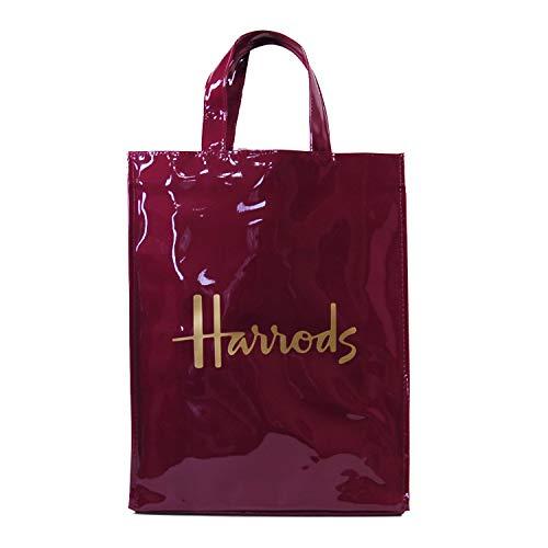 (ハロッズ) Harrods 正規品PVC エンジ,トートバック,Mサイズ Medium Logo Shopper Bag 裏地付 卒業 入学