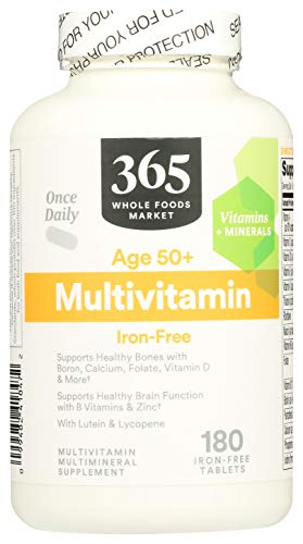 365 by Whole Foods Market, Supplements - Multivitamins, Age 50+ Multivitamin Iron-Free, 180 Count