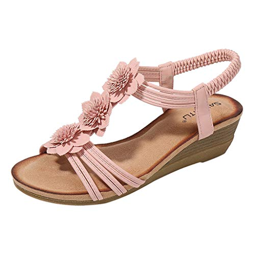 PLENTOP Silver Sandals for Women Mens Slippers 11 Toddler Flip Flops Boys Espadrille Wedge Sandals for Women Beach Shoes for Kids Stride Rite Sandals (Pink19, 6)