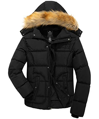 Wantdo Men Winter Puffer Coat Casual Fur Hooded Warm Outwear Jacket Black Medium