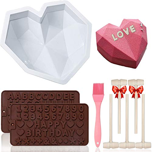 Breakable Heart Mold, TEETOOKEA Diamond Heart Shaped Silicone Mold for Chocolate, with 5Pcs Wooden Hammers & 2Pcs Number Letter Molds & Silicone Brush, for Mousse Cake Dessert Biscuit DIY Baking Tool