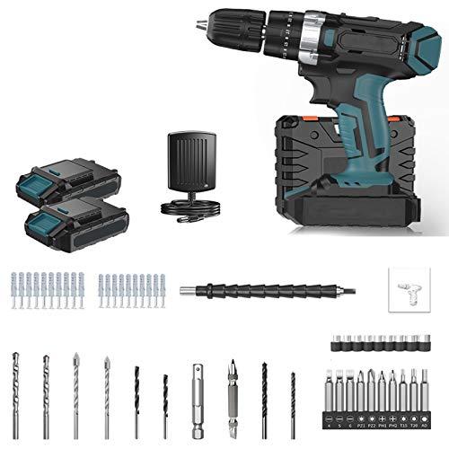 Taladro Percutor Motor Brushless con 2 velocidades 25V+2 baterías de iones de litio+25 Nm+10 mm Mandril Portabrocas Automatico,Taladro con Percusión