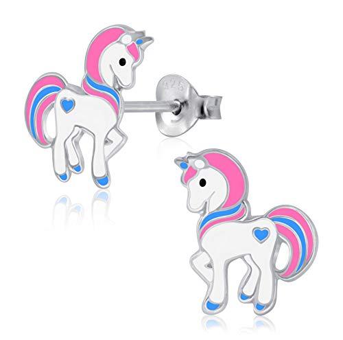 Laimons - Orecchini da bambina a forma di unicorno, 13 mm, in argento Sterling 925, colore: rosa, viola e bianco