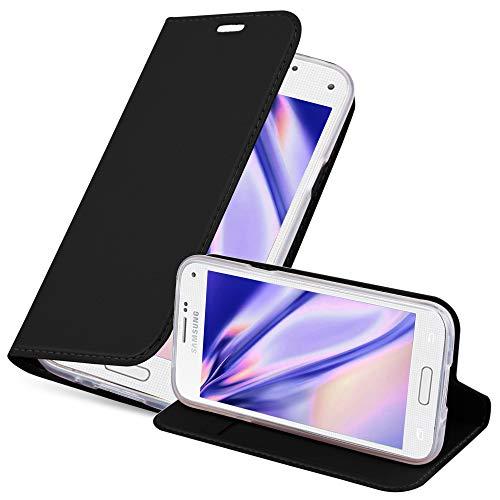 Cadorabo Hülle für Samsung Galaxy S5 Mini / S5 Mini DUOS - Hülle in SCHWARZ – Handyhülle mit Standfunktion & Kartenfach im Metallic Erscheinungsbild - Hülle Cover Schutzhülle Etui Tasche Book Klapp Style