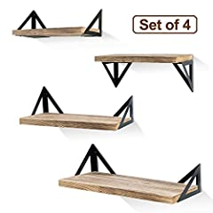 Multiple installation methods: Our floating shelf suitable for creative person, Firstly, unique triangular brackets design offer two display forms, install board on top of brackets or below; Secondly, set of 4 wood wall shelves could be install 1 + 1...