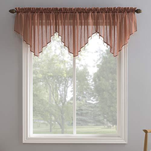 "No. 918 Erica Crushed Texture Sheer Voile Beaded Ascot Rod Pocket Curtain Valance, 51"" x 24"", Cedar Orange"