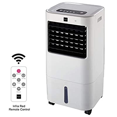 15L Portable Evaporative Air Cooler Fan, High Cooling Water Tank with Remote Control and LED Display, 3 Fan Speeds with Oscillation Function, Purifier, 7 Hour Timer for Home and Office Use, White