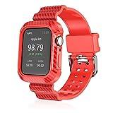 FAAGFC Correa suave de fibra de carbono con marco para Apple Watch SE Band Series 6, 5, 4, 44 mm, correa deportiva al aire libre (color de la correa: rojo, ancho de la correa: 44 mm)