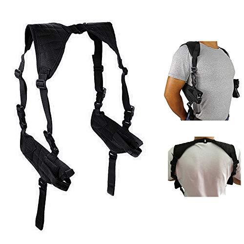 FIRECLUB Tactical Universal Double Draw Shoulder Holster,Adjustable Elastic Band Women Men (Black)