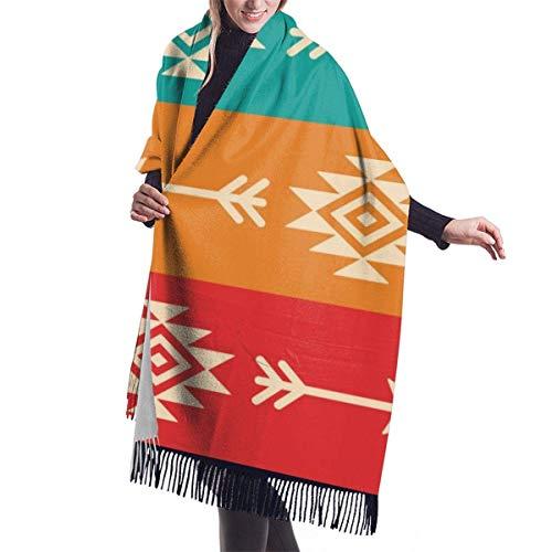shenguang Azteca con flechas Retro Chal Oversiz para mujer o Abrigo clido Bufandas de invierno Manta Bufanda Pashmina Cape
