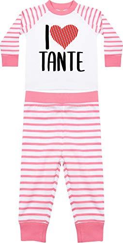 Kleckerliese Baby Kinder Schlafanzug Pyjama Sprüche Jungen Mädchen Zweiteiler Langarm mit Aufdruck Motiv I Love Tante, PinkWhite, 6-12 Monate