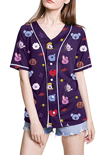 ATERAIN Kpop Women BTS Cute Cartoon V-Neck Baseball Jersey Jimin Suga V Jungkook T-Shirt
