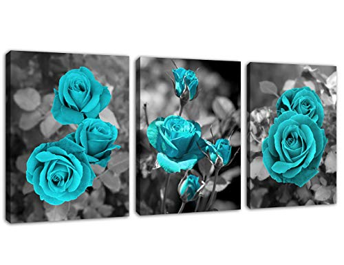 """Rose Wall Art Bedroom Wall Decor Teal Roses Canvas Picture Blue Blooms Canvas Artwork Prints Contemporary Wall Art for Living Room Bathroom Kitchen Office Decoration Framed Ready to Hang 12"""" x 16"""" x 3 Pieces"""