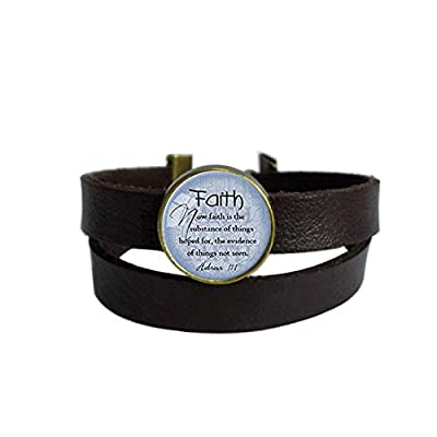 LooPoP Vintage Punk Dark Brown Leather Bracelet Faith Bible Quote Scripture Faith Christian Belt Wrap Cuff Bangle Adjustable