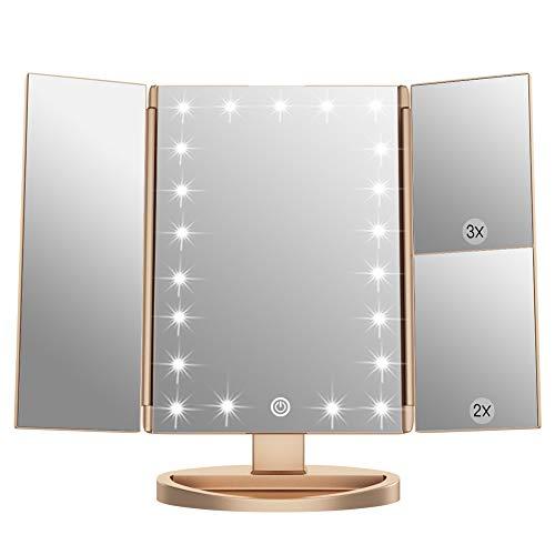 WEILY Espejo de Maquillaje,1x / 2X / 3X Espejo de Maquillaje de Tres Pliegues con 21 Luces LED y Pantalla táctil Ajustable Espejo Iluminado Tocador Espejos cosméticos de encimera (Oro)