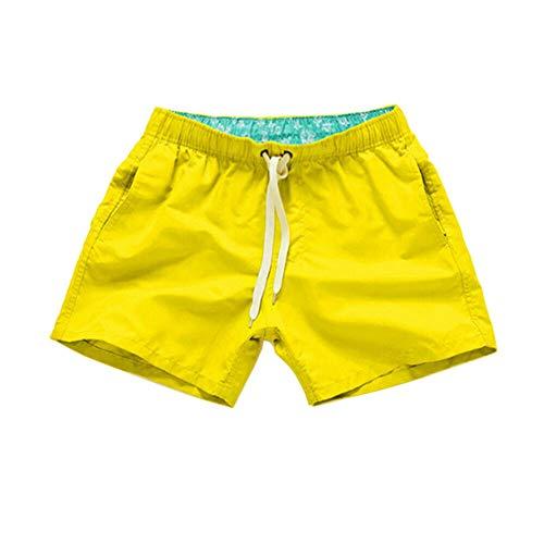 Xinvivion Los Hombres Bóxers Traje de Baño - Color Solido Cordón Pantalones Cortos de Surf con Bolsillos,Secado Rápido Ligero Bañador para Deportes