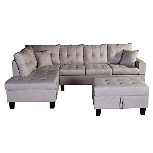 Home Deluxe - Ecksofa Mailand Rechts - Farbe Beige - 264,2 cm x 181,6 cm x 87,6 cm - inkl. Hocker | Sofagarnitur, Sofa L-Form, Couch, Wohnlandschaft