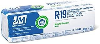 Johns Manville R19 X15X93 kraft paper faced 10 bags of Fiberglass Insulation (871.8 SF)