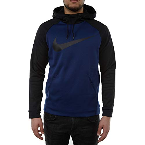 Nike Mens Therma Swoosh Essential Pull Over Hoodie Blue Void/Black 931991-478 Size Medium