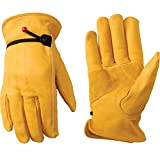 Men's Leather Work Gloves with Adjustable Wrist, Large (Wells Lamont...