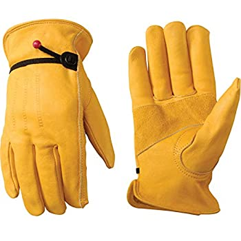 Wells Lamont Men s Cowhide Leather Work Gloves   Adjustable Wrist Puncture and Cut Resistant   Large  1132L