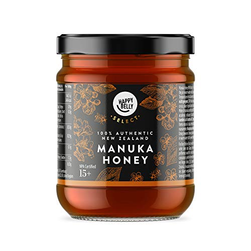 Marque Amazon - Happy Belly Select Miel de manuka 15+, 340gr - MGO 514