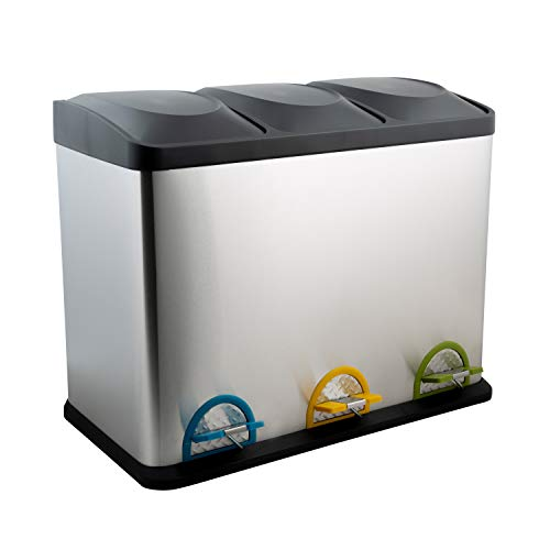 Organize It All 3 Compartment Step-On 45 Liter Recycling Trash Can, Stainless Steel