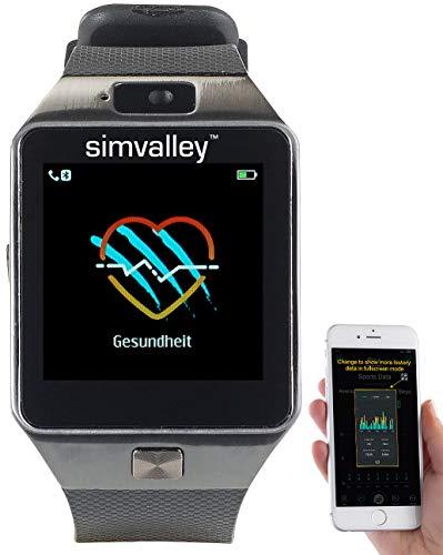 Simvalley Mobile Telefon Uhr: Handy-Uhr & Smartwatch mit Kamera, Bluetooth 4.0, für iOS & Android (Smartwatch mit integrierter Kamera)