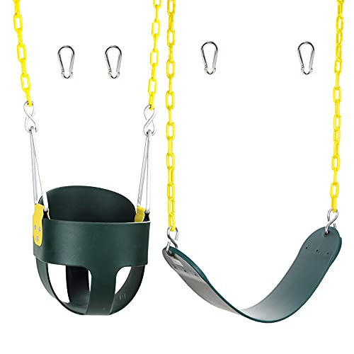 Squirrel Products Combo - High Back Full Bucket Swing and Heavy-Duty Swing Seat with Carabiners - Green
